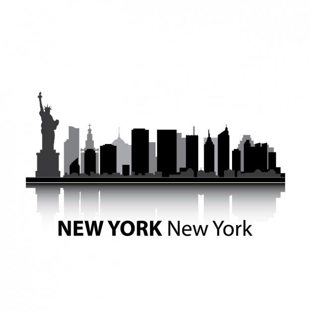 ニューヨークのスカイラインのデザイン 無料ベクター