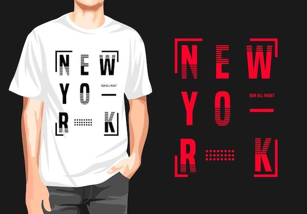 Дизайн футболки нью-йорк Premium векторы