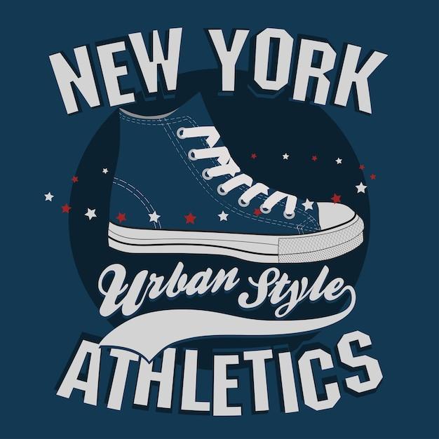 Печать на футболках new york, принт на футболках, дизайн спортивной одежды Premium векторы