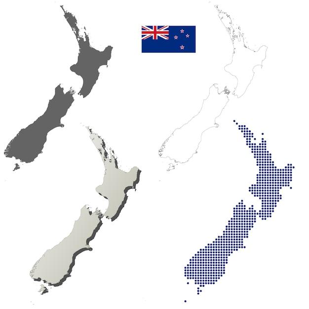 Download New Zealand Map.New Zealand Vector Outline Map Set Vector Premium Download