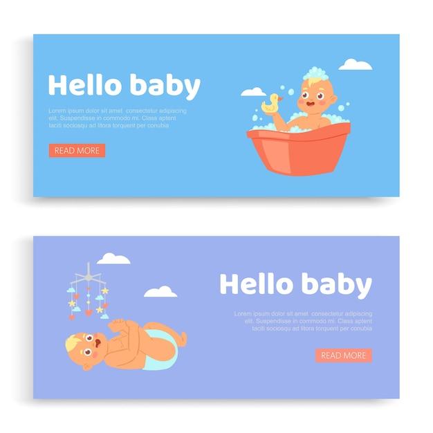 Новорожденный, надпись на set s hello baby, приглашение, милый младенец, открытка для сына, иллюстрация. поздравление с днем рождения, счастливое празднование, детство, открытка с милым ребенком. Premium векторы