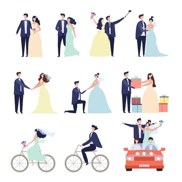 Newlywed couple illustration set Premium Vector