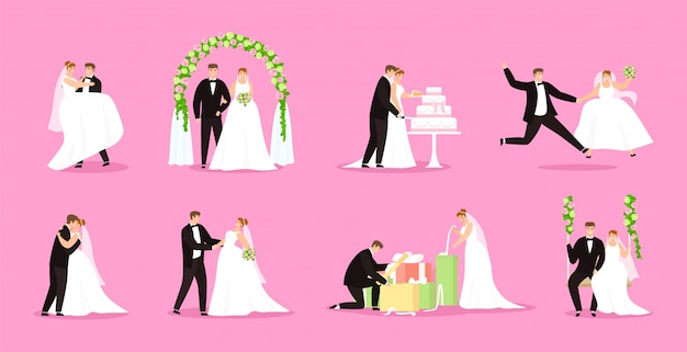 Newlywed, just married couple, bride and groom illustration wedding, marriage set. Premium Vector
