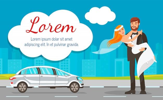 Newlyweds near wedding car web banner template Premium Vector
