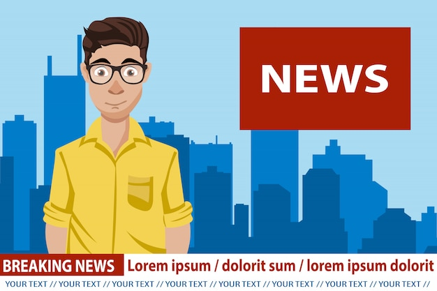 News anchor broadcasting the news Premium Vector