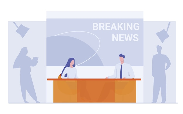 News anchors on breaking news background Free Vector