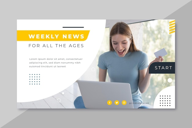 ニュースバナーブログデザイン 無料ベクター