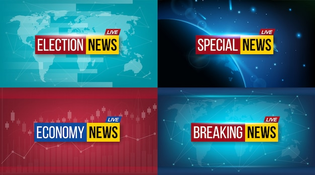 News broadcast tv daily banner Premium Vector