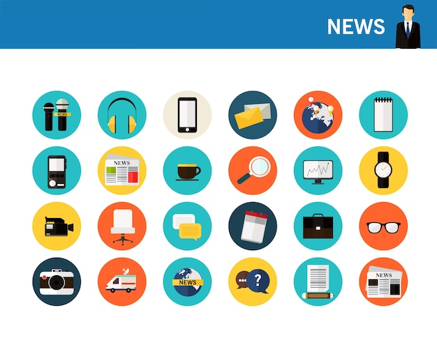 News concept flat icons. Premium Vector