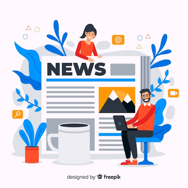 News concept illustration in flat design Free Vector