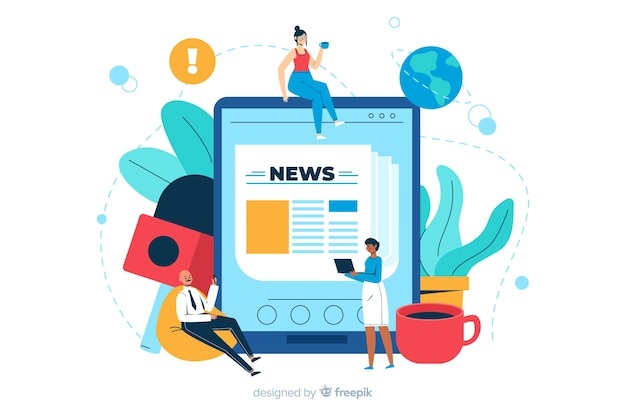 News concept landing page illustration Free Vector