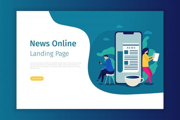 News concept landing page for site Premium Vector