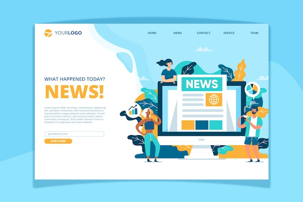 News concept landing page template Free Vector