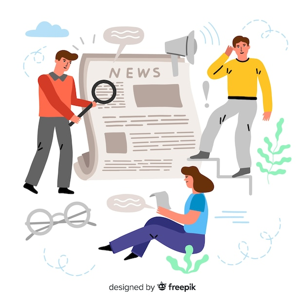 News concept for landing page Free Vector