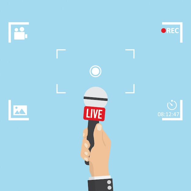 News illustration on focus tv and live with camera frame Premium Vector
