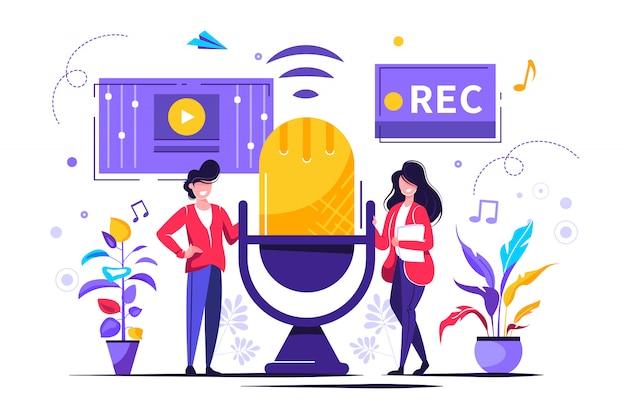 News, interviews, music, voice acting, sound recording Premium Vector