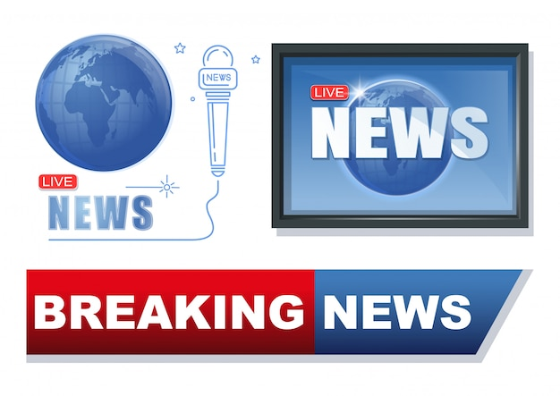 News and journalism banner set. breaking news conceptual logo design collection. latest news label. illustration Premium Vector