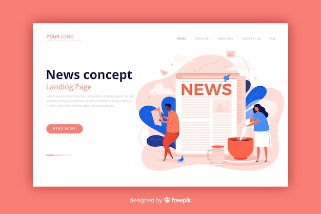 News landing page flat style Free Vector