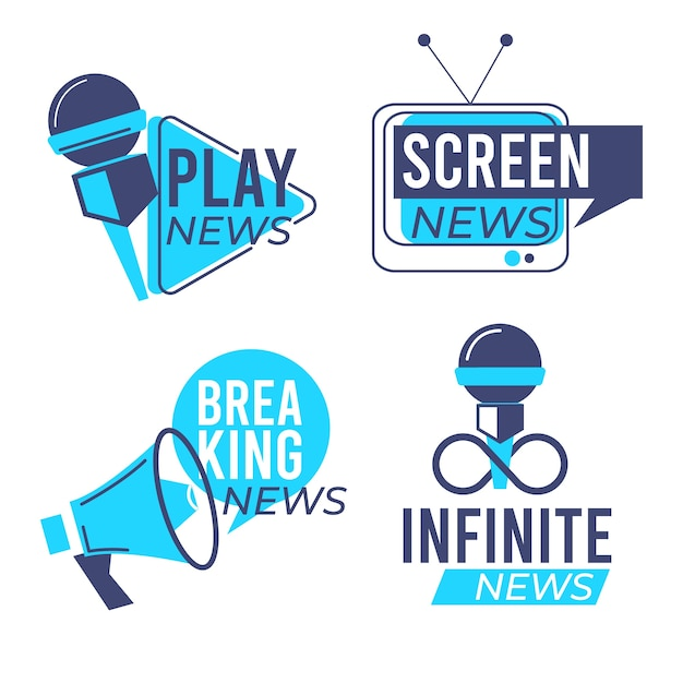 News logo collection template design Free Vector