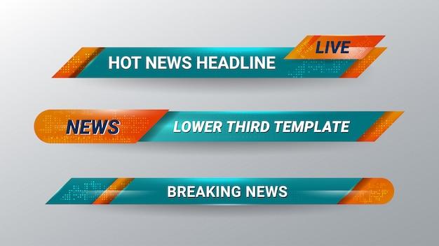 Баннер нижней трети новостей для телевидения Premium векторы