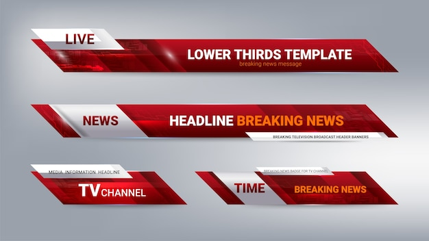 News lower thirds banner for television Premium Vector