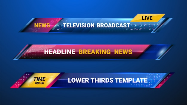News lower thirds template Premium Vector