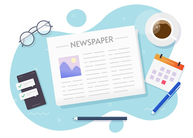 News paper newspaper reading  above workplace table desk or daily newsletter press read top view  cartoon illustration Premium Vector