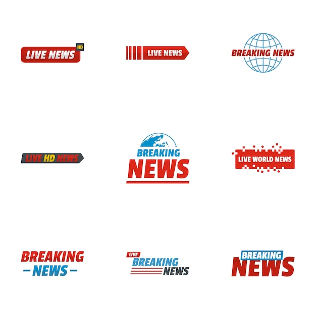 News story icons set. flat set of 9 news story icons Premium Vector