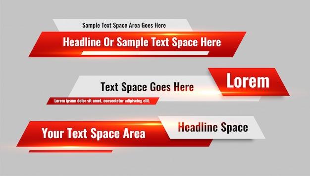 Новости стиля нижней трети красных баннеров установлены Бесплатные векторы