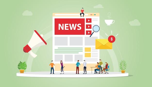 Концепция обновления новостей с людьми из команды и дизайном страницы и символом обновлений уведомлений Premium векторы