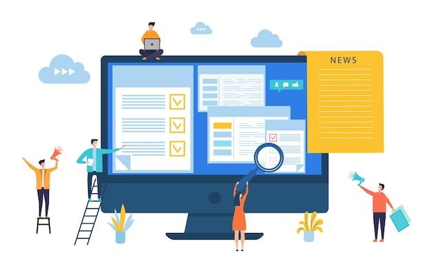 뉴스 업데이트. 디지털 뉴스, 온라인 신문 개념. 프리미엄 벡터