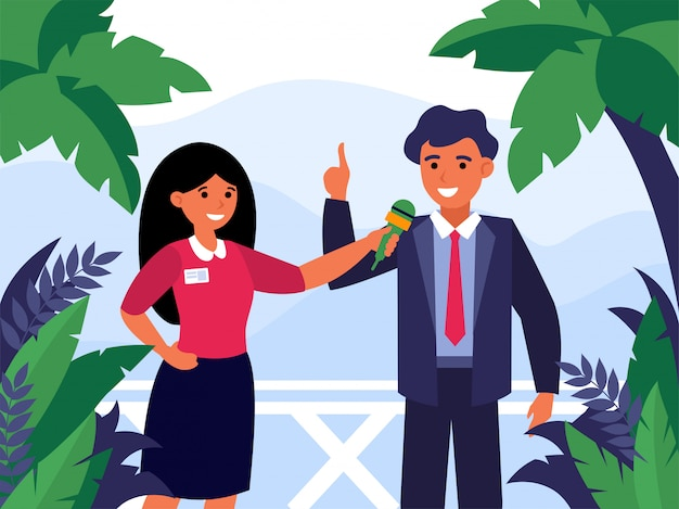 Newscaster interviewing politician outdoors Free Vector