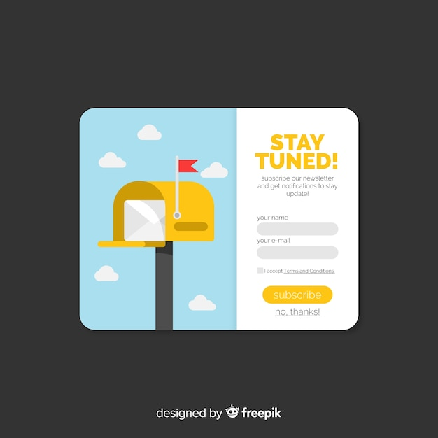 Newsletter form flat background Free Vector