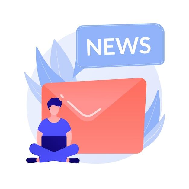 ニュースレターの購読。現代の娯楽、オンラインニュースの読書、インターネットメール。スパム広告、フィッシングレター、詐欺のアイデアのデザイン要素。 無料ベクター