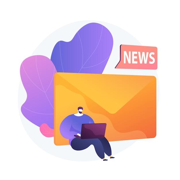 신문 구독. 현대 오락, 온라인 뉴스 읽기, 인터넷 메일. 스팸 광고, 피싱 편지, 사기 아이디어 디자인 요소. 무료 벡터