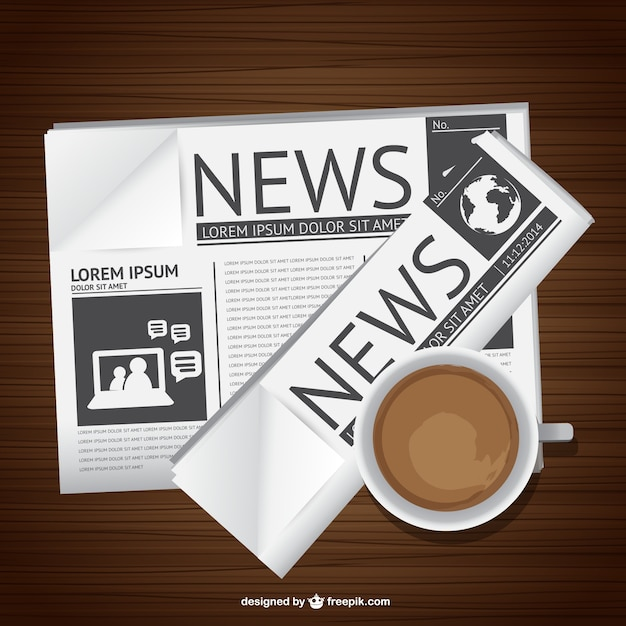 Newspaper and coffee Free Vector