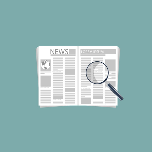 Newspaper and magnifying glass Free Vector