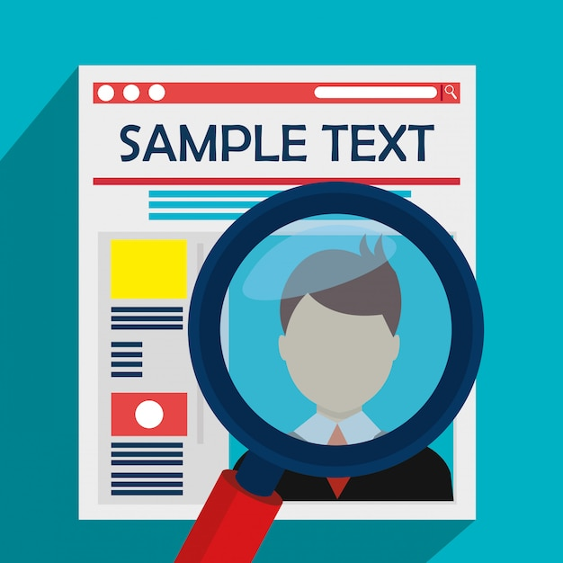 Newspaper article and magnifying glass Free Vector