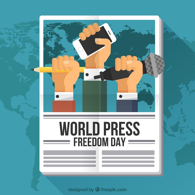 Newspaper background with fists claiming freedom of the press Free Vector