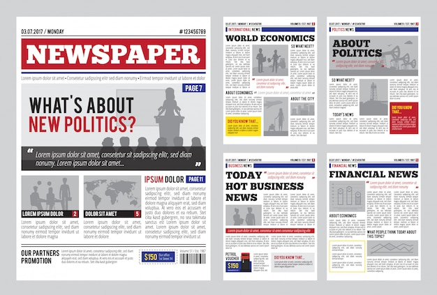 Newspaper design template Free Vector