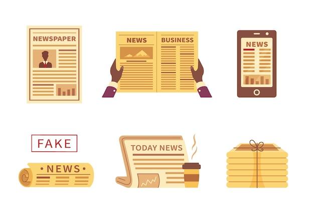 漫画の新聞のさまざまなアイコン。タイプと白い背景で隔離の写真と新聞のセットです。フェイクニュース。 Premiumベクター