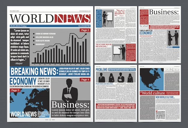 Newspaper economy pages realistic template design with world business news diagrams map businessmen black silhouettes vector illustration Premium Vector