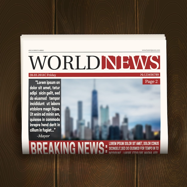 Newspaper front page design poster with world breaking news headlines on dark wood background realistic Free Vector