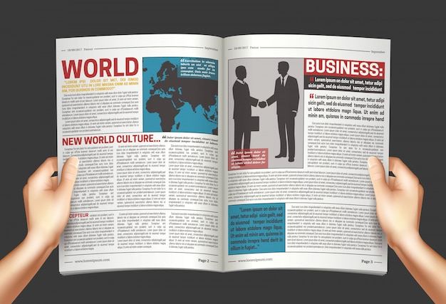 Newspaper in hands background poster Free Vector