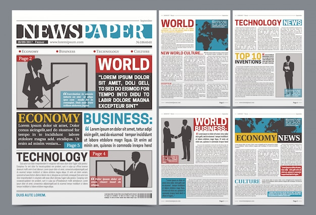 Newspaper online template realistic Free Vector