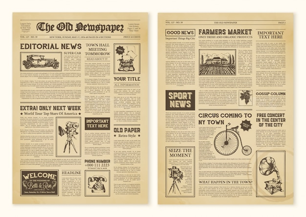 Newspaper pages in vintage Free Vector