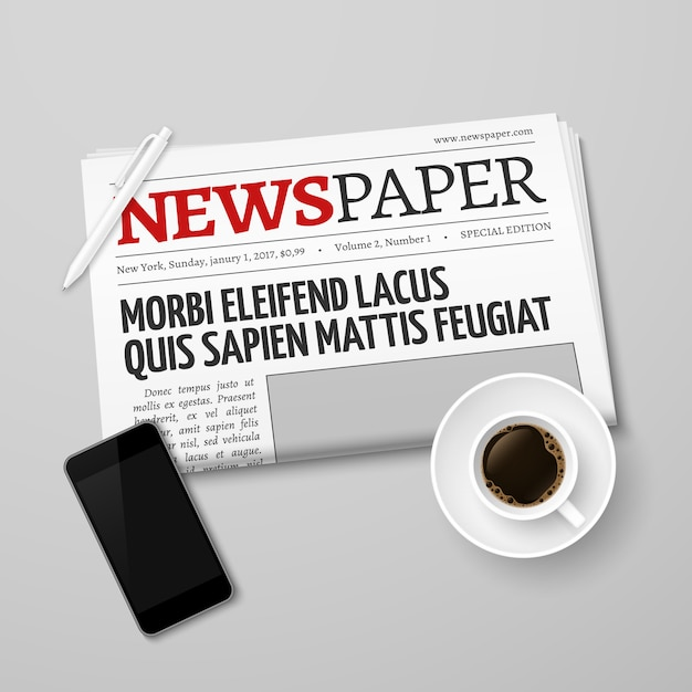 Newspaper, pan, coffee cup and smartphone Premium Vector