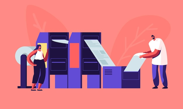 Newspaper production process in typography. cartoon flat illustration