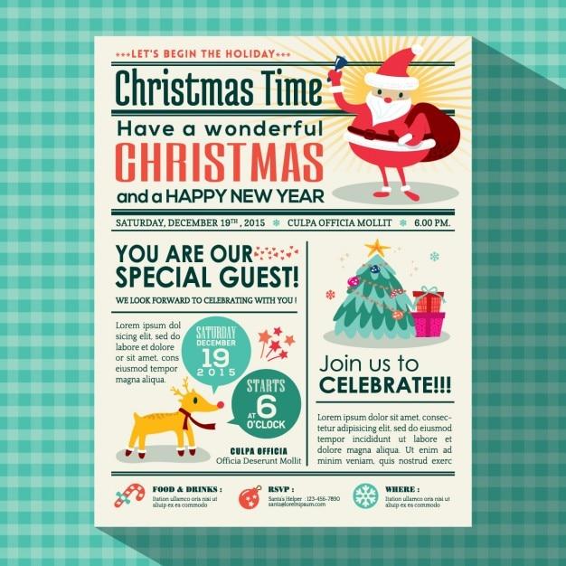 Newspaper, santa claus, christmas Free Vector