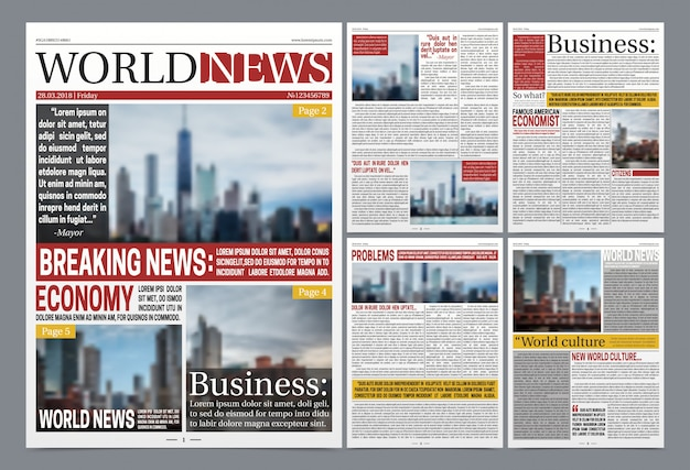 Newspaper template realistic poster Free Vector